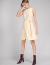 Belted Dress With Mesh-Trimmed Hem