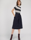 Belted Skirt With Button Front
