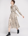 Snakeskin-Printed Belted Midi Dress