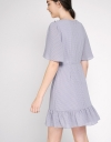 Mesh Shift Dress With Gathered Hem