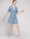 Tied Denim Dress With Button Front