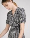 Sleeved Wrap Check Print Midi Dress