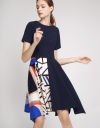 A-Line Dress With Contrast Printed Skirt