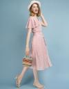 Petal Sleeved Jacquard Midi Dress