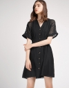 Ribbed Elasticated Dress With Button Front