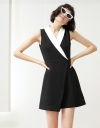 Layered Romper With Contrast Neckline