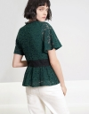 Sleeved Color Block Lace Top